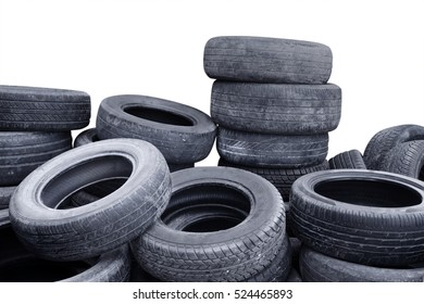 Picture of tires heap in the studio, isolated on white background
