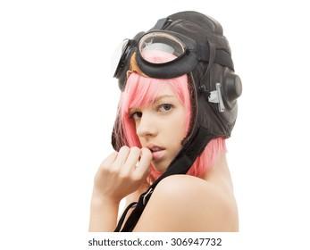 picture of topless pink hair girl in aviator helmet