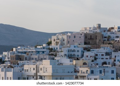 Picture of traditional cyclades house at early morning. Location: Naxos town - Chora, cyclades arcipelago, Greece