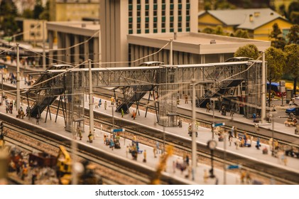 A picture of a transportation-related model scene inside the Grand Maket Russia.
