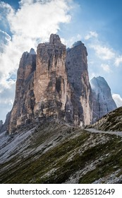 A picture of the Tre Cime di Lavaredo (Drei Zimmen) taken from a side, in particular from the side of the Cima Piccola (small peak). in the Sexten Dolomites of northeastern Italy.