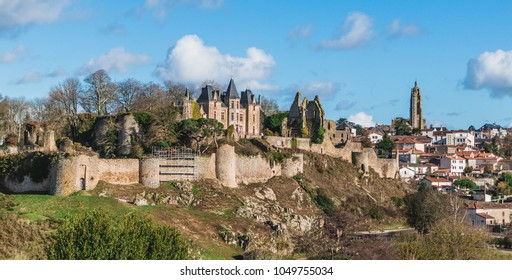 A picture of two Bressuire landmarks, the castle and the church.