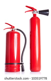 picture of two fire  extinguishers next to each other on white background