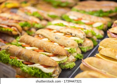 Picture of Various sandwiches on a shop counter