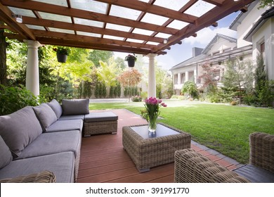 Picture of verandah with modern garden furniture