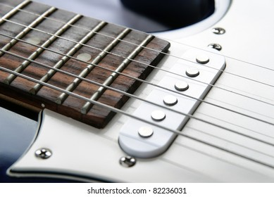 Picture of a vintage, classic electric guitar. Close up.