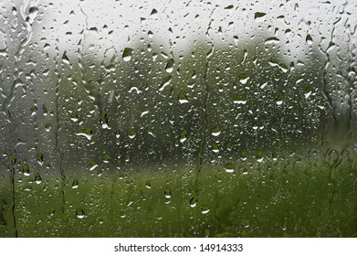a picture of water drops on window