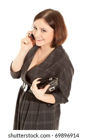 Picture of woman calling to phone and smiling
