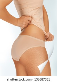 picture of woman in cotton underwear showing good skin concept