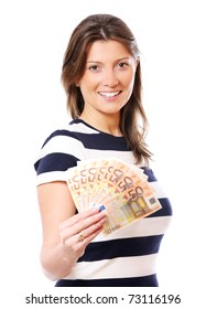 A picture of a woman holding a fan of fifty-euro notes over white background