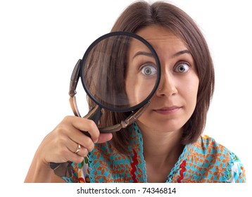 picture of woman with magnifying glass