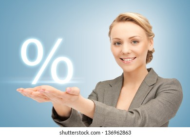 picture of woman showing sign of percent in her hands