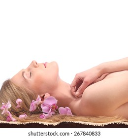 picture of woman in spa salon lying on the massage desk studio