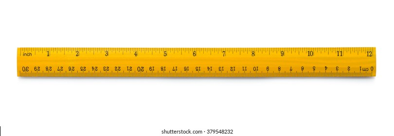 Picture of yellow wooden ruler isolated on white background