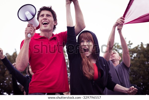 Picture of young and active participants of student revolution