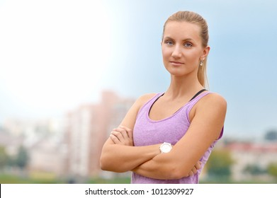 Picture of young attractive happy fitness woman. Healthy wellness fitness lifestyle