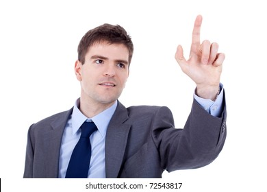 picture of a young business man pushing an imaginary button , focus on finger