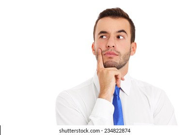 A picture of a young businessman thinking over white background