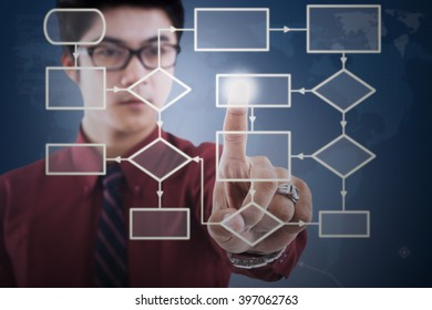 Picture of a young businessman touching flow chart on the virtual screen in office