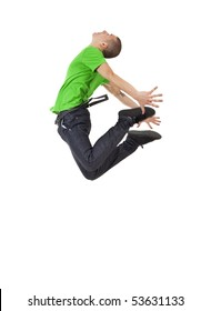 picture of a young man posing in a very high jump dance move