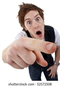 picture of a young shocked  Man Pointing over white