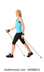 A picture of a young woman practising nordic walking over white background