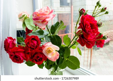 pictured in the photo Bouquet of pink and red roses