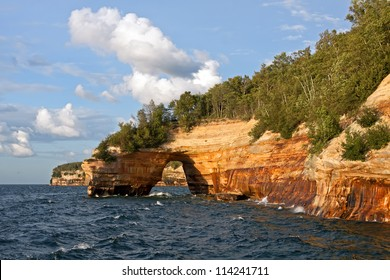 Pictured Rocks National Lakeshore in evening sunlight.These colorful formations are on the Lake Superior shoreline on Michigan's Upper Peninsula.