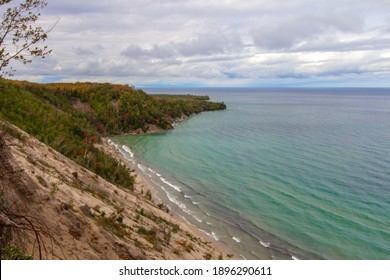 Pictured Rocks National Lakeshore. Massive sand dune forms a large cliff on the coast of Lake Superior at the popular Log Slide Overlook along the Pictured Rocks National Lakeshore Michigan