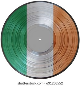 A picturedisc vinyl record of the flag of Ireland isolated on a white background.