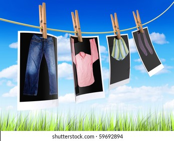Pictures of clothes hanging on a cord outdoors to get dry