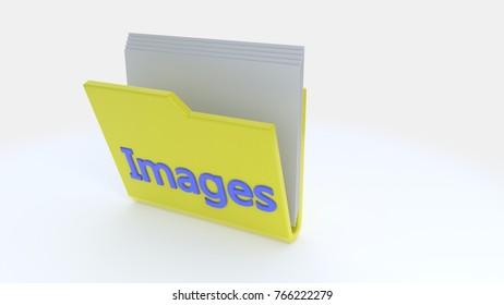 Pictures folder symbol, 3d render