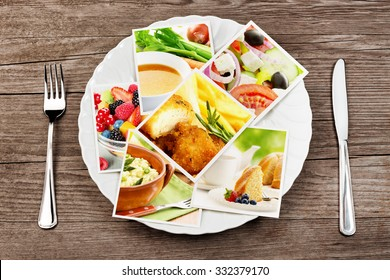 pictures of food in a dish, fork and knife