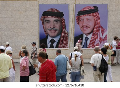 Pictures of the King Hussein, left, and his son and new King Abdullah, right, in the Village of Wadi Musa near the Temple city of Petra in Jordan in the middle east.  Jordan, Petra, April, 2009