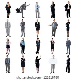 Pictures of multiracial business executives. Business collage.