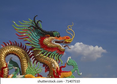 Pictures painted golden dragon smoke at the sky.