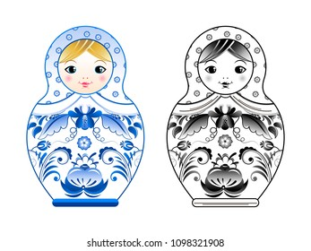 pictures of russian matryoshka painted at gzhel style. Colored and linear illustrations. Russian souvenir matryoshka doll, traditional toy in blue gzhel style art