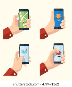 pictures set of hands with smartphone. Pictures with place for your personal design on the screen. Navigation, mail and start game first screen.