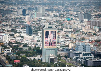 a pictures of Thai King Maha Vajiralongkorn in the view from the Baiyoke sky Hotel in the city of Bangkok in Thailand in Southeastasia.  Thailand, Bangkok, November, 2018