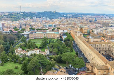 Picturesque aerial panoramic view of the ancient buildings of the Vatican museums ( Famous Roman landmark ). Beautiful natural and architectural landscape. Rome. Italy. Europe.