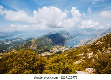 Picturesque aerial view of of Kotor bay (Boka Kotorska). Location place Kotor city, Montenegro, Balkans, Adriatic sea, Europe. Scenic image of popular travel destination. Discover the beauty of earth.
