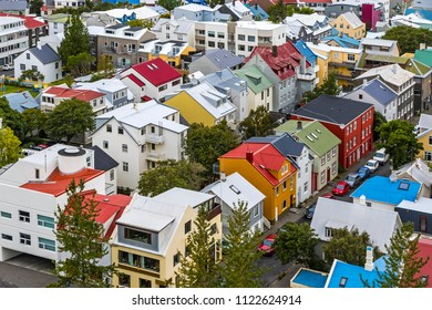 Picturesque aerial view of Reykjavik city center, Iceland. View from the top of Hallgrimskirkja Cathedral in Reykjavik