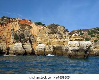 Picturesque Algarve coast between Lagos and the Cap Vincent