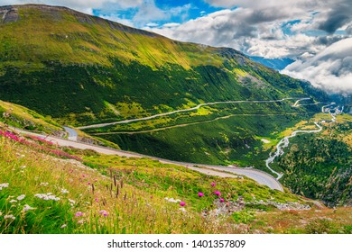 Picturesque alpine landscape, famous winding alpine Furka pass with colorful mountain flowers, Switzerland, Europe