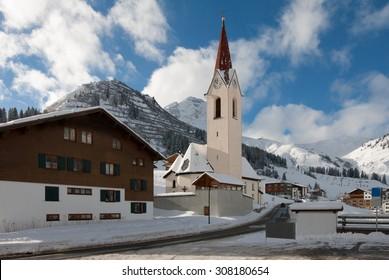 The picturesque alpine village of Warth-Schröcken, in Austria
