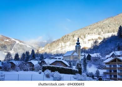 Picturesque Alps village in Austria winter view, Carinthia