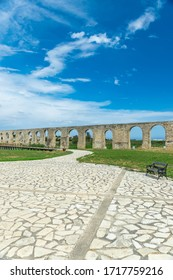 The picturesque ancient aqueduct is located near the city of Larnaca.