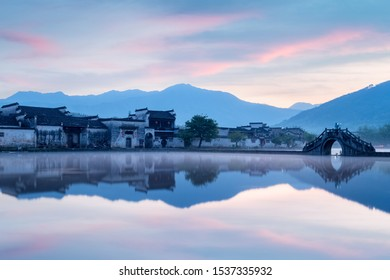 picturesque ancient village in early morning, world cultural heritage, hongcun town, anhui province, China