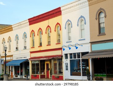 Picturesque architecture and storefronts in downtown Chagrin Falls, Ohio