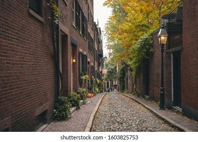 The picturesque Arcon Street. Boston, MA